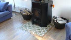 tegels onder de kachel Wood Stove Hearth, Hearth Tiles, Living Area, Living Spaces, Living Room, Decoration, Sweet Home, Lounge, Tv Fireplace