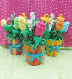 3 Baby Bouquet Flower Arrangement Shower by babyblossomco on Etsy, $90.00