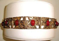 Victorian Bracelet Carnelian Sterling Silver by TheJewelryEmporium, $135.00