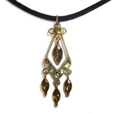 Vintage Swarovski Element Crystal Pendant Necklace Emerald Dangle with Chain WLSTORE N32188a