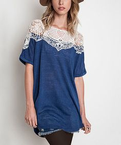 Another great find on #zulily! Indigo Patched-Lace Tunic #zulilyfinds