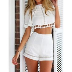 Style d'é Crop Top et Short Set Imprimer Salopette Femmes Casual Sexy Resort Wear Libres monos mujer macacao feminino Combishort Crop Top Styles, Two Piece Outfits Shorts, Crop Top Outfits, Crop Top Und Shorts, High Waisted Shorts, Cropped Tops, Rompers Women, Jumpsuits For Women, Women Shorts