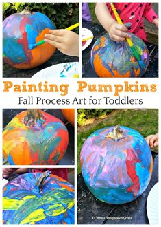 Fall Process Art for Kids Painting pumpkins with infants and toddlers! Simple fall process art for young children and preschoolers too!Painting pumpkins with infants and toddlers! Simple fall process art for young children and preschoolers too! Process Art Preschool, Preschool Art Projects, Fall Art Projects, Fall Preschool, Preschool Crafts, Halloween Projects For Toddlers, Halloween Activities, Autumn Activities, Halloween Crafts