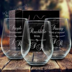 The stemless wine glass is fast becoming the most stylish and trendy drinking glass. Our high quality stemless wine glass makes the perfect thankyou gift for your bridal party, guests and loved ones. Show your appreciation in style with a unique gift that is sure to become a keepsake and rememberance of your big day. A large 500ml capacity, with personalised engraving for a unique touch. #GiftwareDirect #bridesmaid