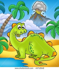 Cute dinosaur with volcano - color illustration.
