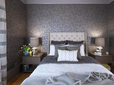 Contemporary Gray Bedroom With Patterned Wallpaper
