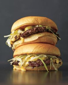 "Thin Burger - Martha Stewart Recipes ""Martin's Famous Sandwich Potato Rolls are our choice for their slight sweetness and optimally squishy centers."" (Cheese Making Martha Stewart) Think Food, I Love Food, Good Food, Yummy Food, Tasty, Burger And Fries, Good Burger, Wendy's Burger, Amazing Burger"