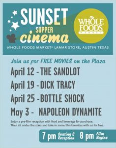 Sunset Supper Cinema: April 12th, 19th, 25th and May 3rd