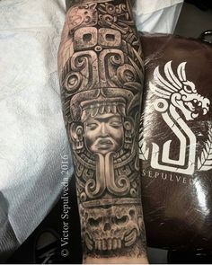 P tattoo, chicano tattoos, skull tattoos, sleeve tattoos, body art tattoos Aztec Tattoos Sleeve, Aztec Tribal Tattoos, Aztec Tattoo Designs, Aztec Art, Tattoo Sleeve Designs, Aztec Warrior Tattoo, Tattoo Aztecas, Tattoo Maya, Chicano Tattoos
