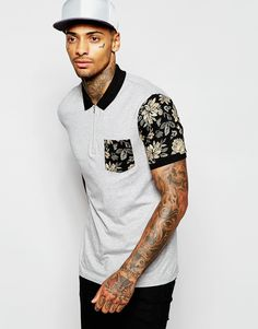 Buy ASOS Polo Shirt With Printed Sleeve and Pocket & Zip Neck at ASOS. With free delivery and return options (Ts&Cs apply), online shopping has never been so easy. Get the latest trends with ASOS now. Mens Polo T Shirts, Printed Polo Shirts, New T Shirt Design, Shirt Designs, Sport Casual, Men Casual, Asos, Tall Guys, Men's Collection