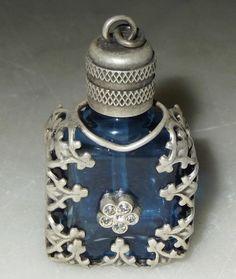 Vintage Miniature Perfume Bottle Cobalt Blue Glass W Filigree & Rhinestones