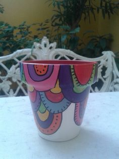 Macetas N ° 10. Painted Flower Pots, Painted Pots, Painted Signs, Pebble Painting, Ceramic Painting, Cactus, Flower Pot Crafts, Simple Gifts, Terracotta