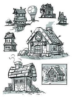Environments & Layouts — DerekLaufman.com Cartoon Building, Building Art, Fantasy Concept Art, Dark Fantasy Art, Art Background, Animation Background, Art Sketches, Art Drawings, Bg Design
