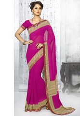 Rani Pink Color Georgette Casual Party Sarees : Simrit Collection YF-27250