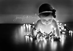 #Newborn #Photography #Christmas #Newborn  Christmas Card ♥ Christmas Lights & baby pose