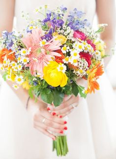 vibrant and colorful wedding bouquets