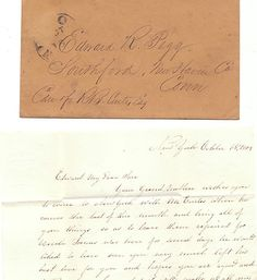 An Original 1853 Letter and Envelope from Anna Pegg of New York to Her Son Edward Pegg at School in Conn.