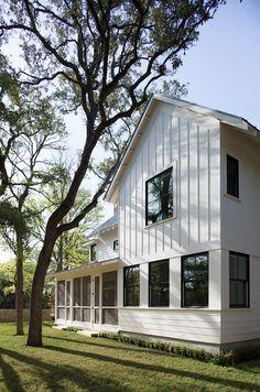 Black windows, siding horizontal and vertical. Modern farmhouse exterior design ideas (33)