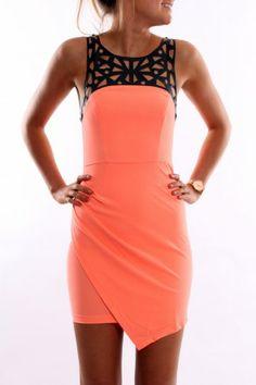 Laser Light Dress Coral