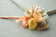 Boutonniere groomsmen fabric flower felt burlap by EnysBridal, £7.00