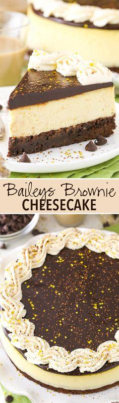 Brownie Cheesecake Baileys Brownie Cheesecake - a dense chocolate brownie, creamy Baileys cheesecake and chocolate ganache!Baileys Brownie Cheesecake - a dense chocolate brownie, creamy Baileys cheesecake and chocolate ganache! Baileys Cheesecake, Brownie Cheesecake, Cheesecake Recipes, Baileys Cake, Homemade Cheesecake, Cheesecake Cupcakes, Chocolate Cheesecake, Köstliche Desserts, Delicious Desserts