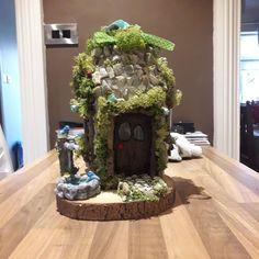 2 of these up 4 sale on Facebook market place stone work with birdbath #fairyhouse #fairygarden #fairydoor #fairygardens #fairyhouses…