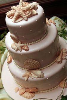 Seashell Fondant Cake #TropicalWedding #CaribbeanWedding #DestinationWedding #BeachWedding