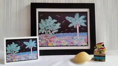 Ocean Palms with Colorful Flowers  Original Chalk Art Drawing