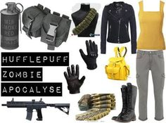 Hufflepuff Zombie Apocalypse Must have! Apocalypse Fashion, Zombie Apocalypse Survival, Harry Potter Outfits, Fandom Outfits, Casual Cosplay, Fashion Outfits, Womens Fashion, Well Dressed, Style Inspiration