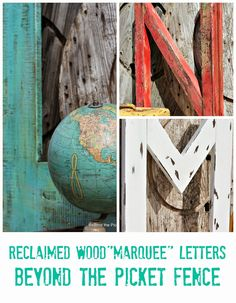 """L,M,N--Reclaimed Wood """"Marquee"""" Letters http://bec4-beyondthepicketfence.blogspot.com/2014/08/lmn-reclaimed-wood-marquee-letters.html"""