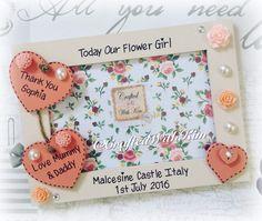 #personalisedphotoframes #flowergirlkeepsake #flowergirlgift #vintagefloral #vintgaewedding #paperroses  Www.facebook.com/CraftedWithKim