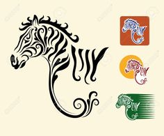 Illustration of Zebra symbol and three alternative colors design vector art, clipart and stock vectors. Zebra Tattoos, Zebra Art, Notes Design, Banner Printing, Expo, French Art, Image Photography, Vector Art, Tatoo
