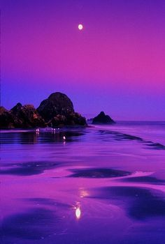 Purple Moon Reflection