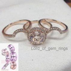 Round Morganite Engagement Ring Trio Sets Pave Diamond Wedding14K Rose Gold 8mm - Lord of Gem Rings - 1