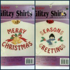 Lot 2 Glitzy Shirts Iron On Fabric Applique Kit Fusable Holiday Merry Christmas Seasons Greetings New Vintage