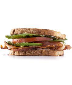 Tomato, Bacon, and Garlic Mayo Sandwich | Upgrade a standard BLT with a garlicky yogurt sauce and sliced avocado.