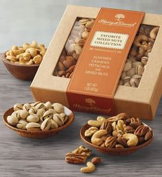 Fruit Packaging, Food Packaging Design, Gourmet Food Gifts, Gourmet Recipes, Harry And David, Snack Box, Roasted Almonds, Mixed Nuts, Dried Fruit