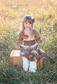 Girls Peasant Dress   Country Cottage in Horses  12 by pinkmouse, $59.00
