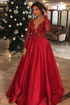 cf81598a3a1d Red V Neck Long Sleeves Lace Appliques Prom Dresses Formal Evening Fancy Dress  Gowns LD1875