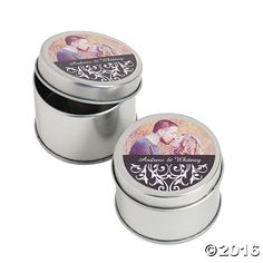 Custom Black and White Photo Metal Container - OrientalTrading.com
