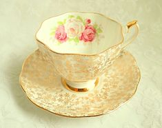 Vintage Gold Chintz Pink Rose Bone China Teacup Saucer England 2 Available