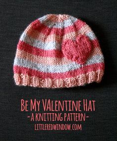 41 Adorable Crochet Baby Hats & Patterns to Make - Be My Valentine Heart Hat Knitting Pattern Baby Hat Knitting Pattern, Easy Knitting Patterns, Crochet Baby Hats, Knitting For Kids, Knit Or Crochet, Loom Knitting, Free Knitting, Knitting Projects, Baby Knitting