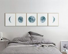 Moon Phases Wall Art Print, Watercolor Prints, Bedroom Wall Decor, Moon Phases Prints Set