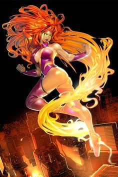 Starfire from The DC Comic Universe. Arte Dc Comics, Dc Comics Art, Comics Girls, Comic Book Girl, Comic Books Art, Comic Art, Nightwing And Starfire, Starfire And Raven, Art Pulp Fiction