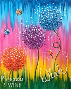 Dancing Dandelions acrylic painting on canvas
