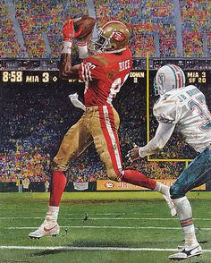 """1992 Jerry Rice """"NFL Touchdown Reception Leader"""" by Merv Corning Football Art, Vintage Football, Football Rules, School Football, Football Helmets, Jerry Rice, 49ers Players, Football Players, Nfl 49ers"""
