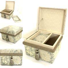 Size Nori-M. Small box good to use on tables and cabinets. Fabric: William Morris Design, Chrysanthemum #chabako #japan #interior #art #william Morris #インテリア茶箱