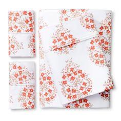 Performance Warm Sheet Set (Queen) Block Print Paisley Orange 400 Thread Count - Threshold