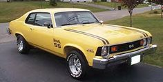 stripes lift kit rear dual exhaust fly kids lol 1974 Nova super sport yellow and black