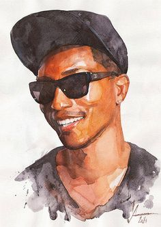 """Pharrell"" - Alexander Dzivnel, watercolor, 2014 {figurative art male head celebrity man face portrait painting #loveart} dzivnelart.blogspot.com"